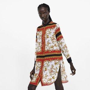 NWT Zara Size XS Printed Button Down Tunic